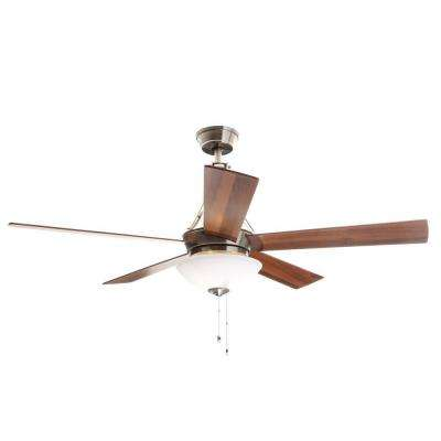 Everbilt 54 in. Indoor Brushed Nickel Ceiling Fan with Light Kit