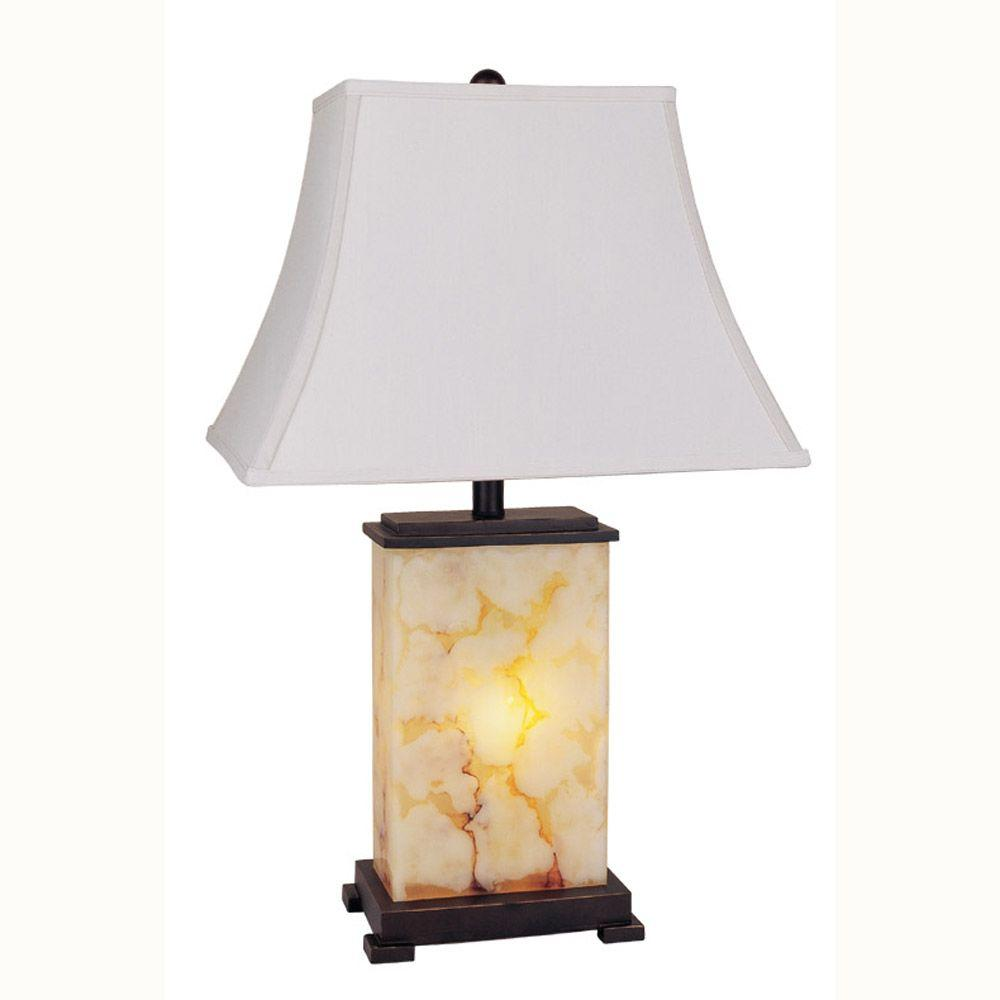 28 in. Ivory, Brown and Black Table Lamp with Night Light