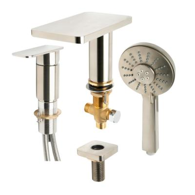 Single-Handle Deck Mount Roman Tub Faucet in Brushed Nickel