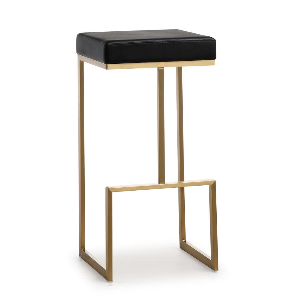 Tov Furniture Ferra 29 5 In Black Leather And Gold Steel