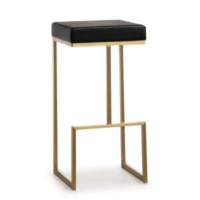 Ferra 29.5 in. Black Leather and Gold Steel Barstool (Set of 2)