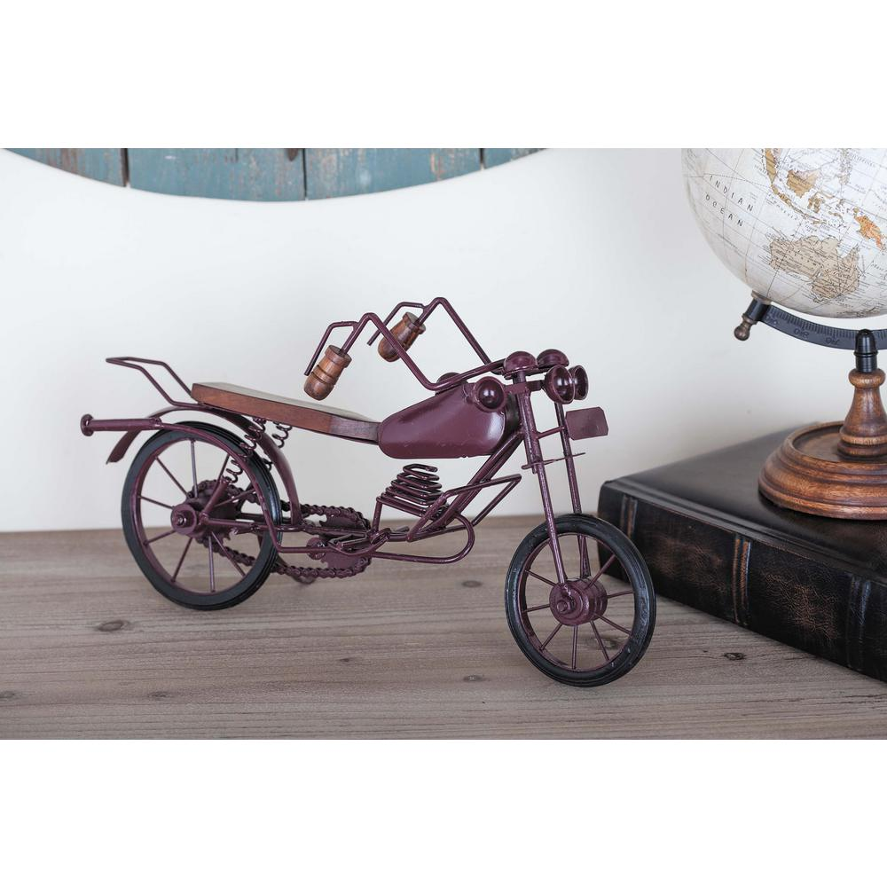8 in. x 15 in. Vintage Iron and Mango Wood Bike