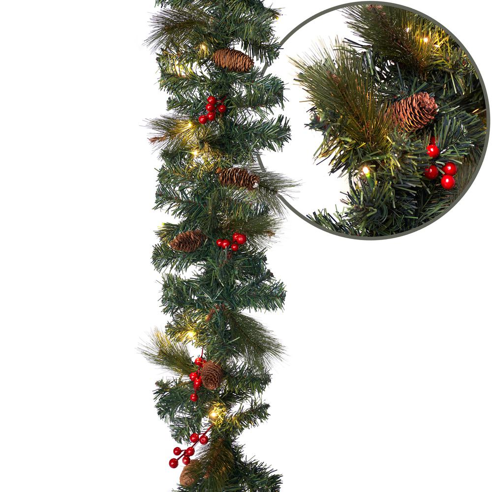 Aurio Lighting 9 Ft Pre Lit Led Artificial Christmas Garland With Pinecones Red Berries And 50 Warm White Lights For Mantle Decor Gr9 220 50ww3 The Home Depot