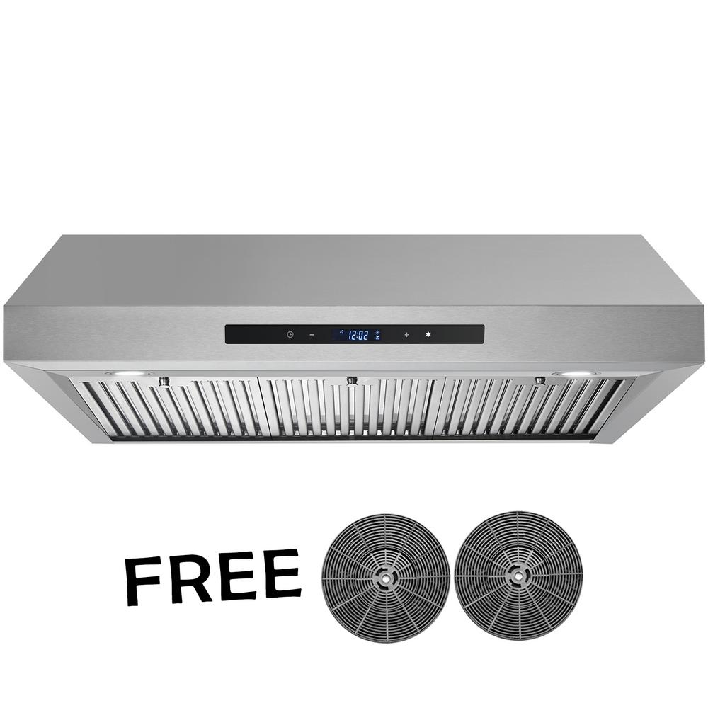 AKDY 36 in. 350 CFM Ducted Under Cabinet Range Hood in Stainless Steel with Touch Control,LEDs and Carbon Filters, Silver was $325.95 now $249.99 (23.0% off)