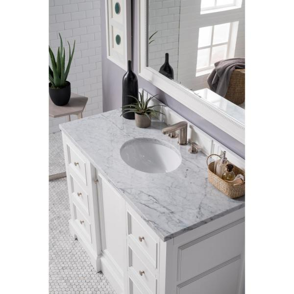 De Soto 49 in. Single Bath Vanity in Bright White with Marble Vanity Top in Carrara White with White Basin