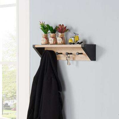 20 in. x 4 in. Rustic Weathered Oak and Black Hanging Rack with Top Shelf