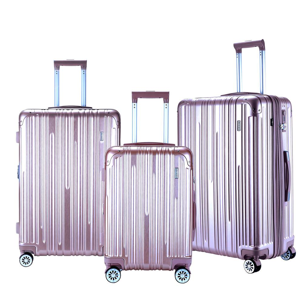 NURMI Rose Gold Hardside Rolling Vertical Luggage Set with Spinner Wheels