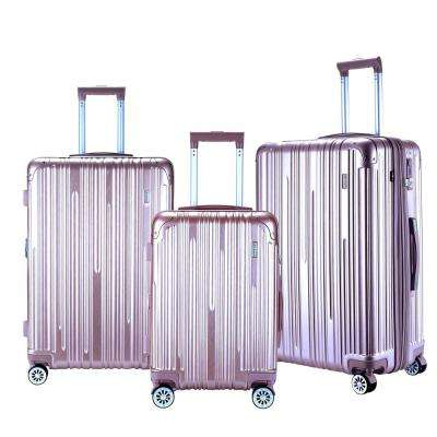NURMI Rose Gold Hardside Rolling Vertical Luggage Set with Spinner Wheels (3-Piece)