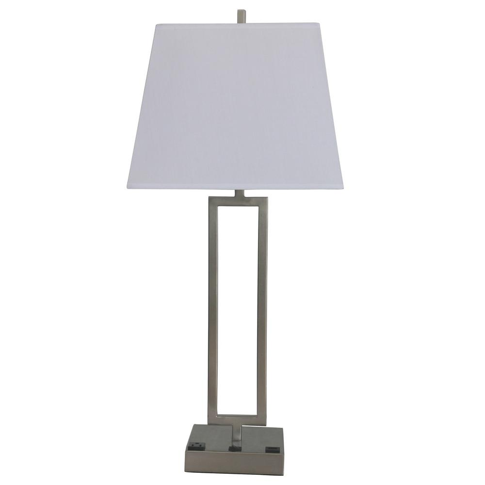 Fangio Lighting 25 5 In Tech Friendly Brushed Nickel Metal Table Lamp With 1 Outlet And 1 Usb Base Port