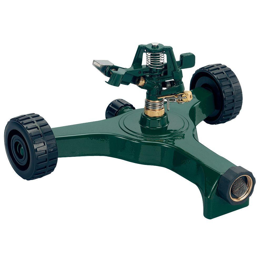20,106 sq. ft. Zinc Impact Sprinkler with Plastic Wheel Base
