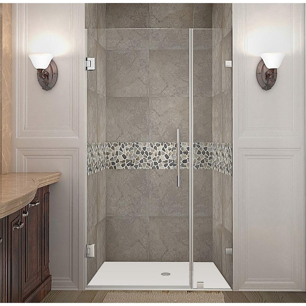 Nautis 35 in. x 72 in. Frameless Hinged Shower Door in