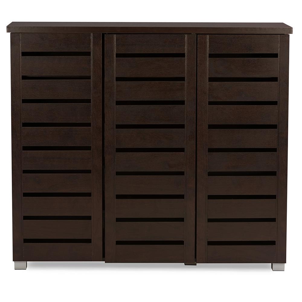 BaxtonStudio Baxton Studio Adalwin Dark Brown Storage Cabinet, Dark Brown Wood