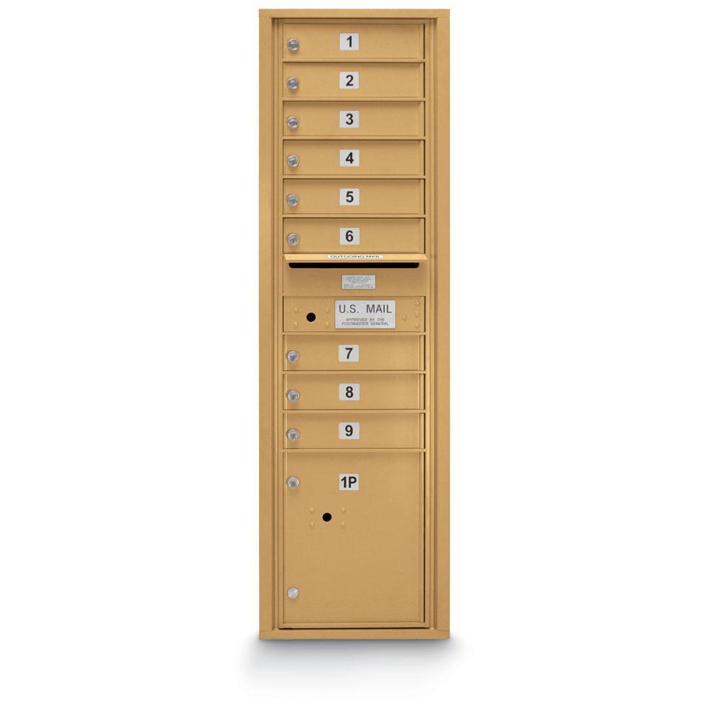 9-Door Standard 4C Front Loading Mailbox (Gold)