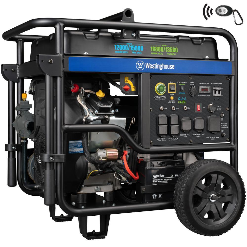 Westinghouse 15,000-Watt/12,500-Watt Dual Fuel Powered Ultra-Duty Portable Generator with Remote Start