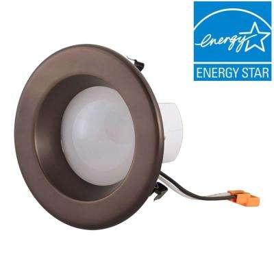 Bronzecopper metallic recessed lighting trims recessed 4 in bronze integrated led recessed ceiling light with trim ring aloadofball Choice Image