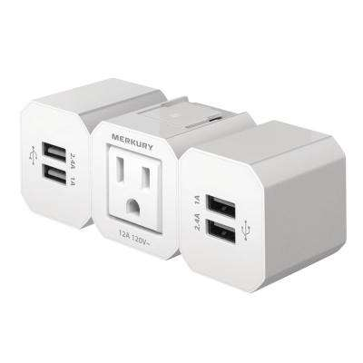 1-AC 2-Outlet Receptacle with 4 Built-in USB Charging Ports 6.8 Amp