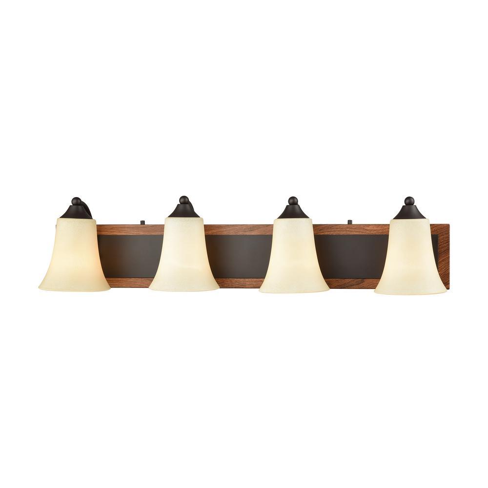 Park City 4-Light Oil Rubbed Bronze, Wood Grain and Light Beige Scavo Glass Bath Light