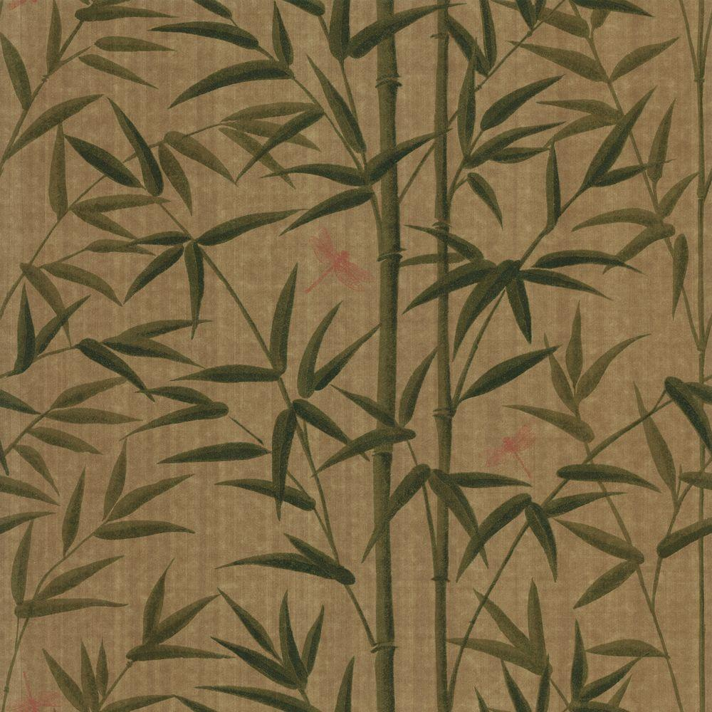 The Wallpaper Company 8 in. x 10 in. Green Bamboo and Dragonflies Wallpaper Sample