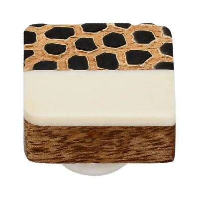 Stone Pattern 1-1/3 in. White Half and Half Square Cabinet Knob