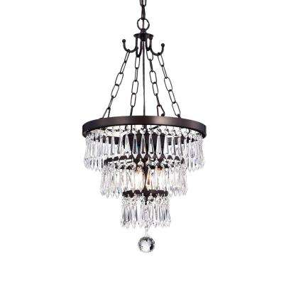 Michana 3-Light Bronze Chandelier with Crystal Shade