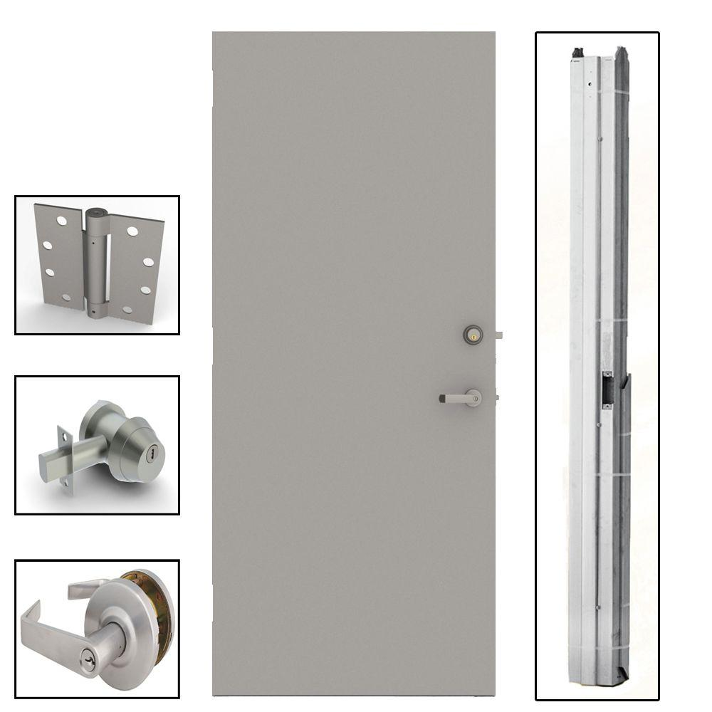 L.I.F Industries 32 in. x 80 in. Gray Flush Steel Security Commercial Door with Hardware