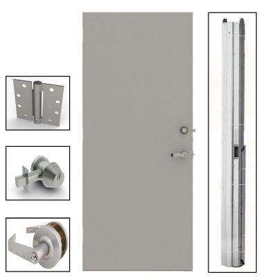 Gray Flush Steel Prehung Commercial Security Unit with Hardware
