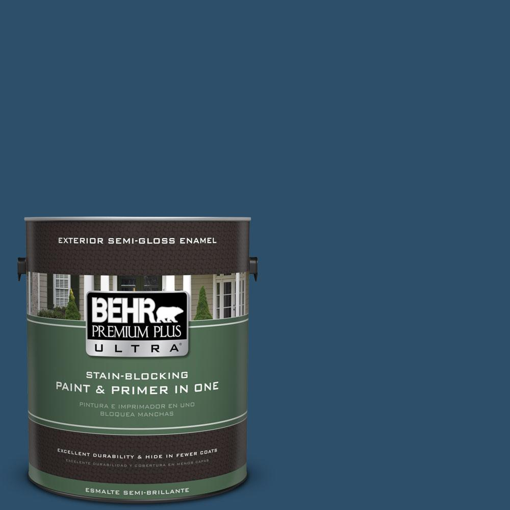 BEHR Premium Plus Ultra 1-gal. #ECC-16-3 Inlet Harbor Semi-Gloss Enamel Exterior Paint