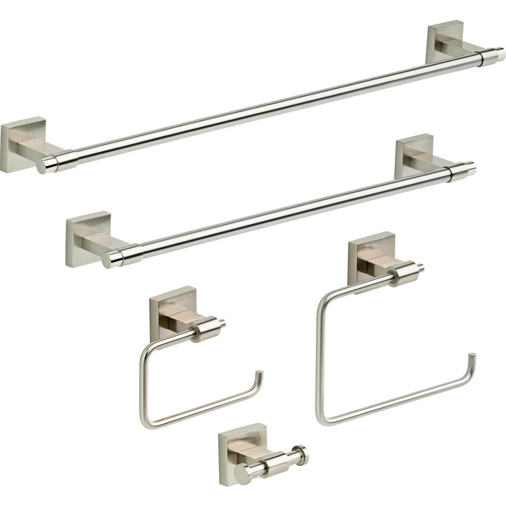 FranklinBrass Franklin Brass Maxted 5-Piece Bath Hardware Towel Bar Accessory Set in Satin Nickel