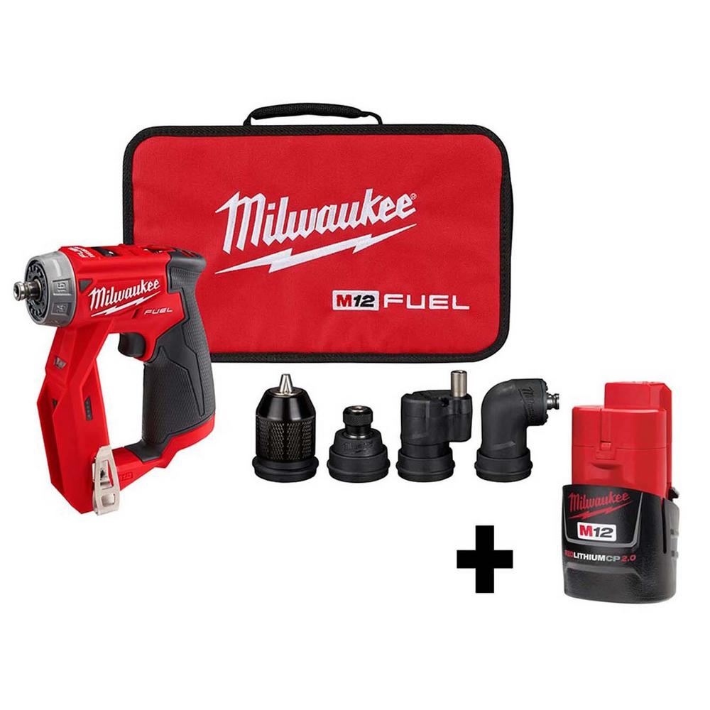 Milwaukee M12 FUEL 12-Volt 3/8 inch 4-in-1 Installation Lithium-Ion Brushless Cordless Drill Driver w/ Free M12 2.0Ah Battery