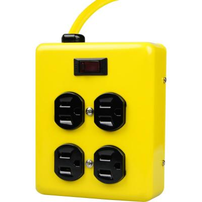 4 ft. 4-Outlet Metal Heavy-Duty Power Block with On/Off Switch