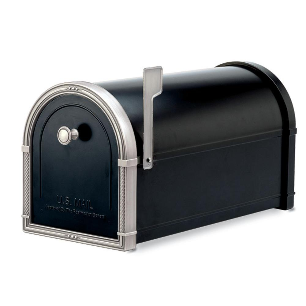 Architectural Mailboxes Coronado Black with Antique Nickel Accents Post-Mount Mailbox