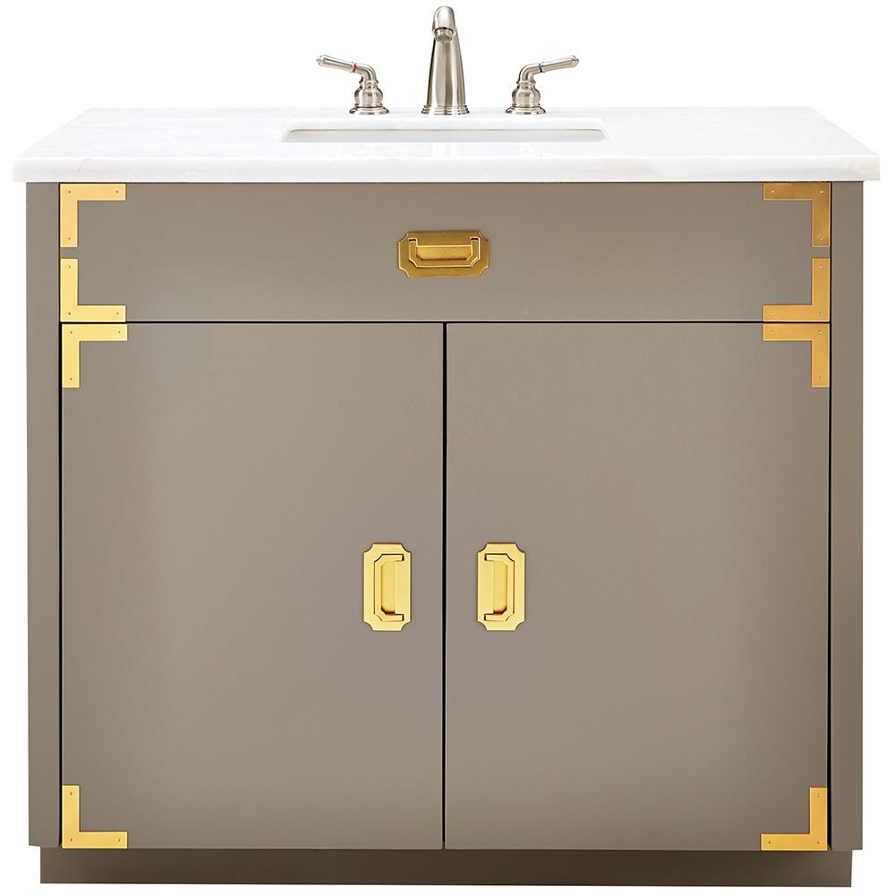 Home Decorators Collection Chatham 38 in. W Single Vanity in Taupe Grey with Faux Stone Vanity Top in White with White Sink