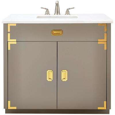 Chatham 38 in. W Single Vanity in Taupe Grey with Faux Stone Vanity Top in White with White Sink