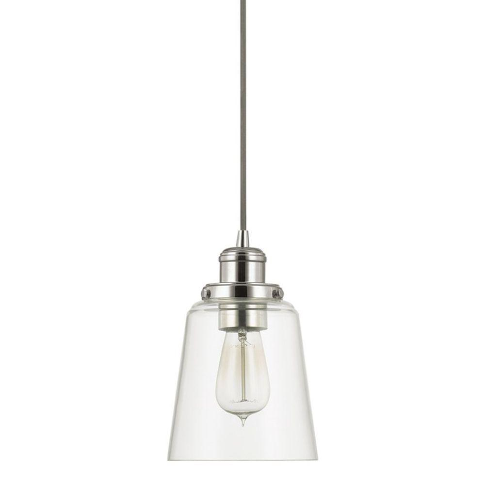 1-Light Polished Nickel Pendant with Clear Glass Shade and Silver Cord