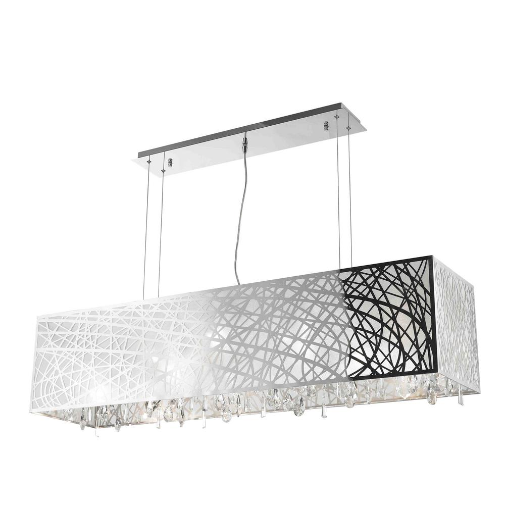 bbf4676aa9f Worldwide Lighting. Julie 10-Light Chrome Rectangle Drum Chandelier with  Clear Crystal Shade