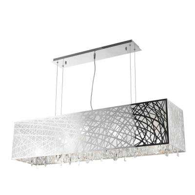 Julie 10-Light Chrome Rectangle Drum Chandelier with Clear Crystal Shade