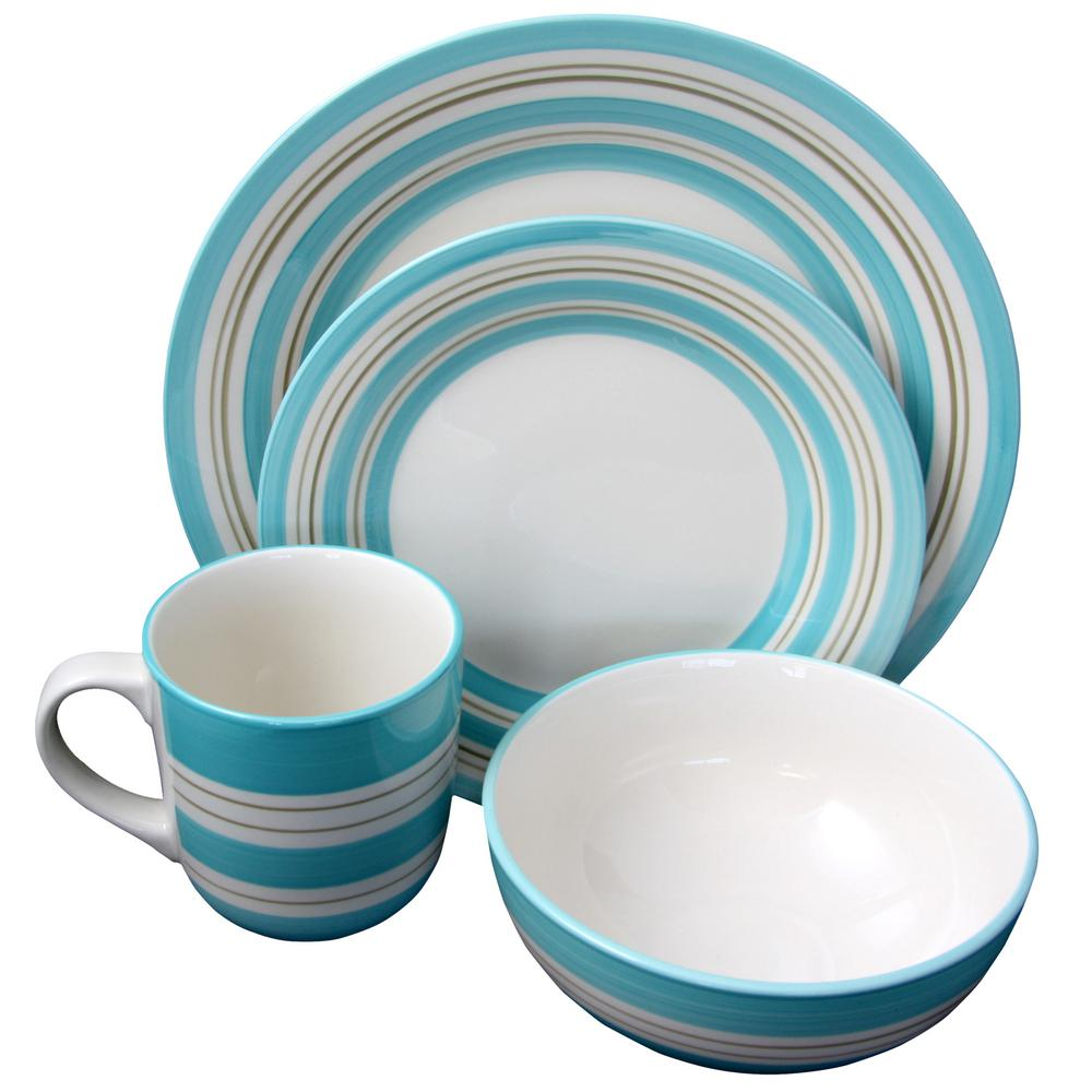 Sunset Stripes 16-Piece Teal Dinnerware Set