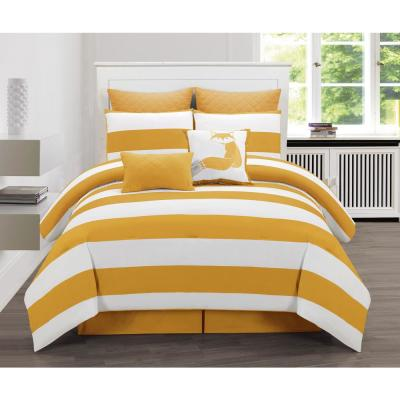 Delia Stripe Printed King Duvet 3 Piece Set in Mustard