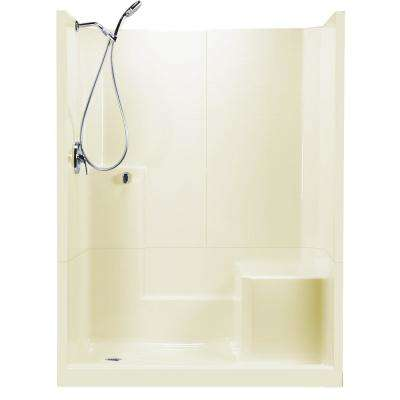 60 in. x 33 in. x 77 in. Standard 3-Piece Low Threshold Shower Stall in Biscuit RHS Molded Seat Shower Kit Left Drain