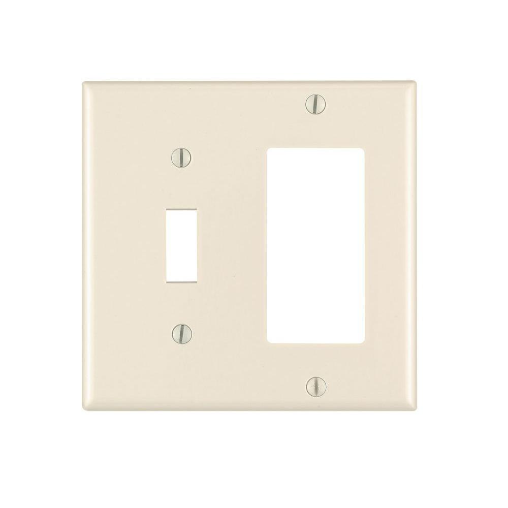 2 Gang Standard Toggle Switch and Decora Wall Plate, Light Almond