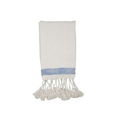 Cream Hand Woven 50 x 60 inch Cotton Throw Blanket with Hand Tied Tassels