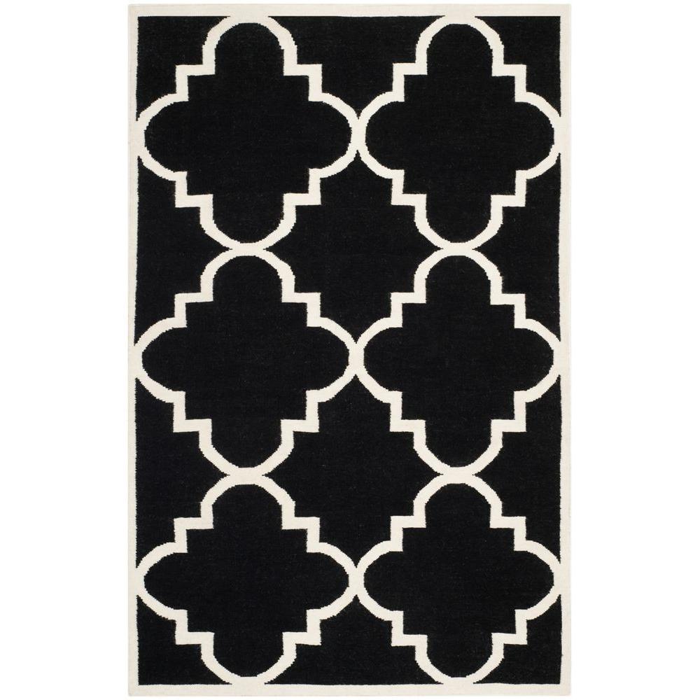 Dhurries Black/Ivory 5 ft. x 8 ft. Area Rug