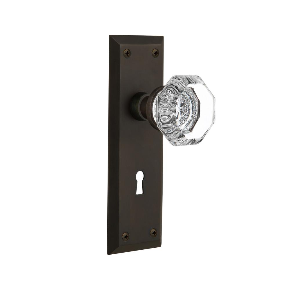 Nostalgic Warehouse New York Plate With Keyhole 2 3 8 In Backset Oil Rubbed Bronze Passage Hall Closet Waldorf Door Knob 704614 The Home Depot
