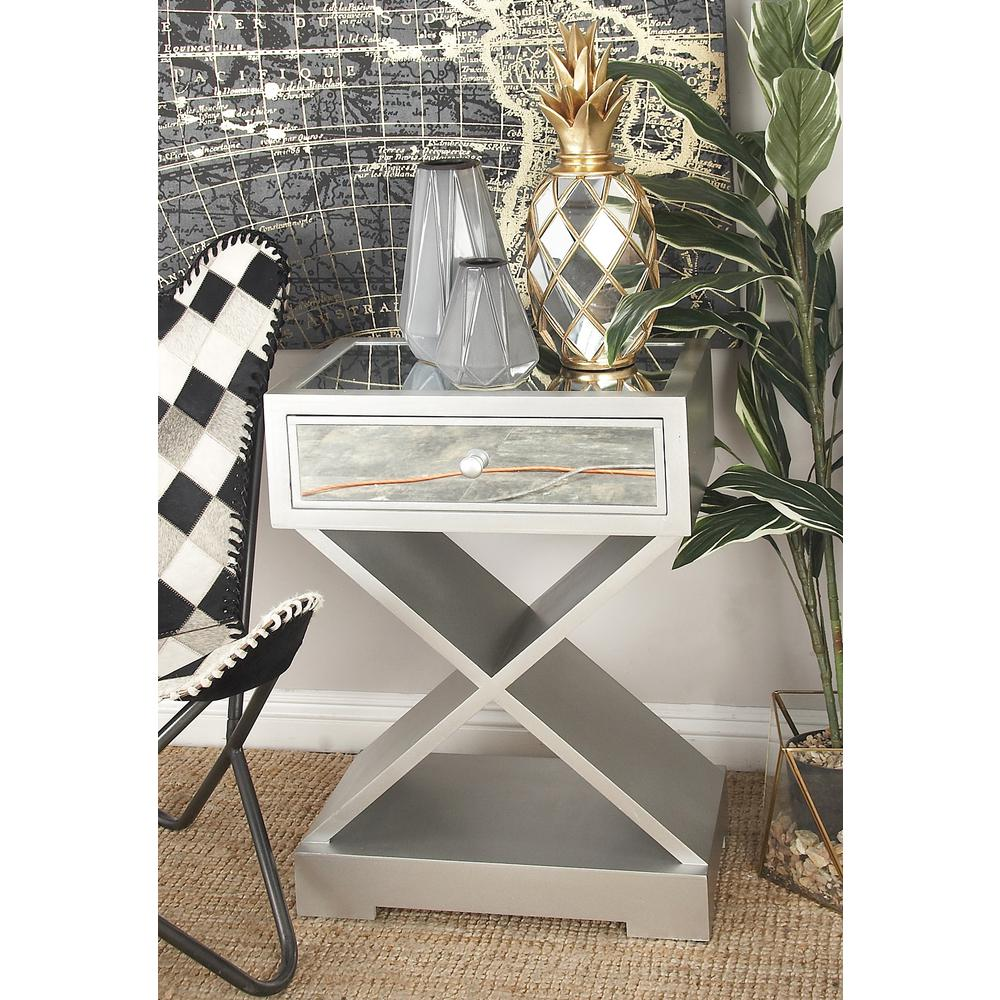 White Side Table with Drawer and X-Shaped Stand