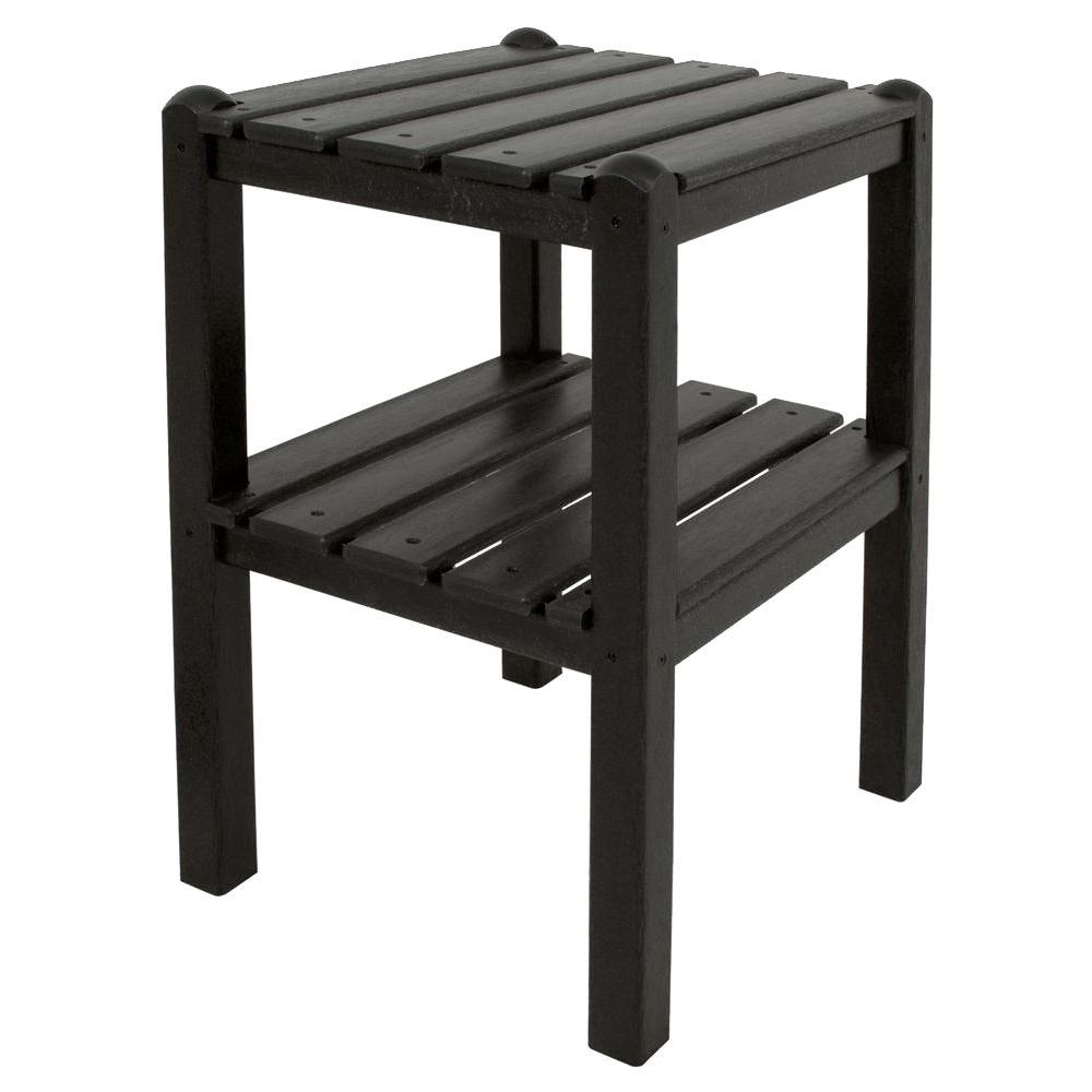 Polywood black 2 shelf patio side table twstbl the home for Outdoor patio side tables