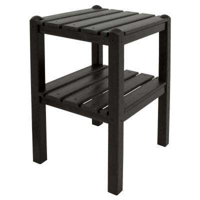 Black 2-Shelf Patio Side Table