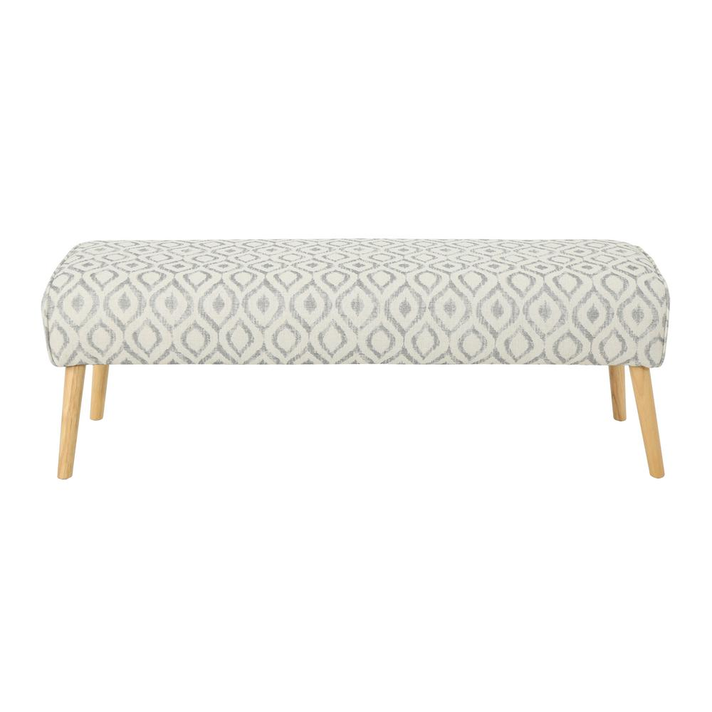 Safire Mid-Century Boho White and Charcoal Cat Eye-Patterned Fabric Ottoman