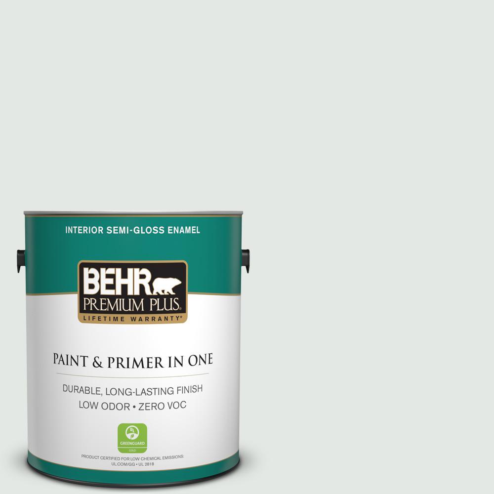 Behr Premium Plus 1 Gal Ppl 55 Coastal Fog Semi Gloss Enamel Zero Voc Interior Paint And