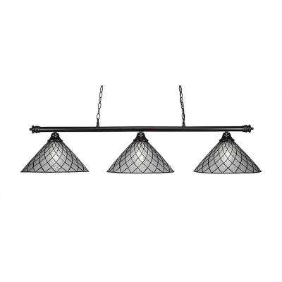 3-Light Matte Black Billiard Light