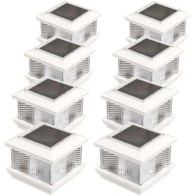 5 in x 5 in solar powered integrated led white plastic post cap light
